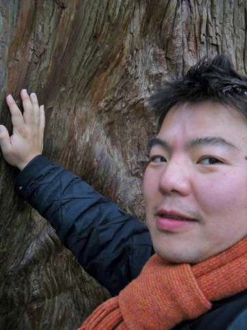 伊勢神宮の内宮にある巨木のパワースポットにタッチ。: 皆さんと自分に幸運が訪れますように。