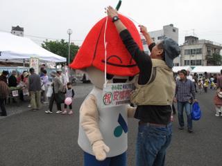 安城サンクスフェスティバルで安城市のゆるキャラ「サルビー」に扮する(2009-10-24)