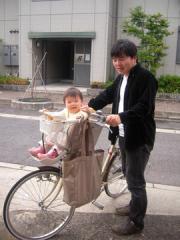 娘と二人乗りの自転車で